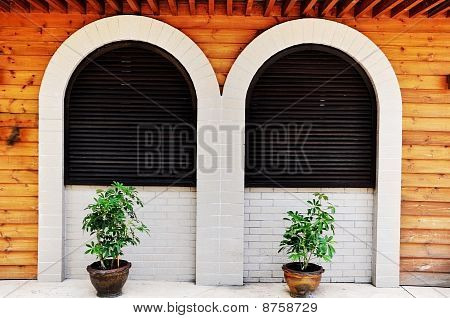 Curve Window as Wooden Background