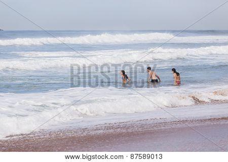 Girls Boy Swimming Beach
