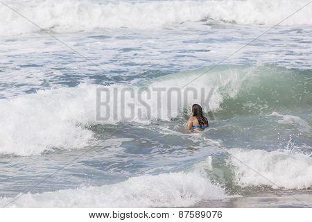 Girl Swimming Beach