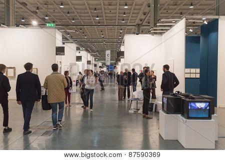 People Visiting Miart 2015 In Milan, Italy