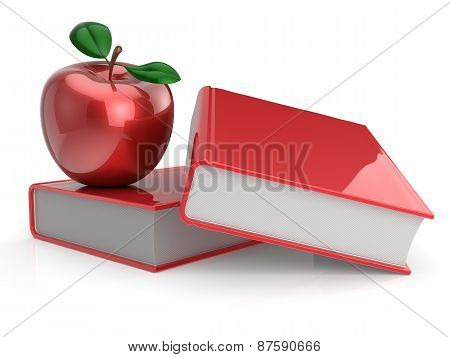 Books And Red Apple Back To School Concept