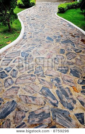 Stone Texture On Walk Way