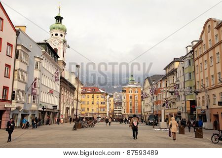People Visit The Old Town In Innsbruck, Austria.