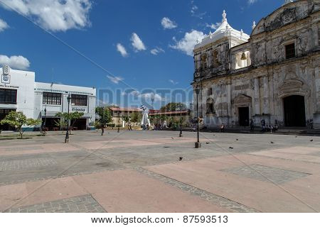 Cathedral on the central square of Leon Nicaragua