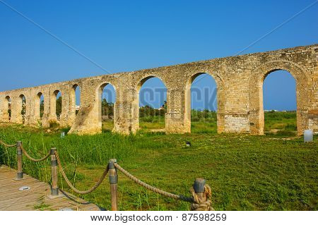 Ottoman Kamares Aqueduct (Bekir Pasha Aqueduct). Larnaca Cyprus. It was built in 1747. poster