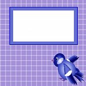 Blue frame with sparrow and cells to the copybooks. poster