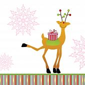 Adorabe whimsical reindeer with wrapped gift sitting on the saddle - kicking up his leg with joy poster
