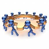 Teamwork business process mans start turning gold gear together. Partnership team cooperation relationship community efficiency concept. 3d render isolated on white poster