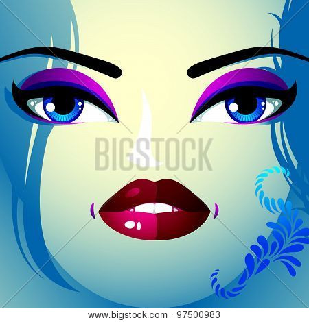 Coquette woman eyes and lips, stylish makeup and hairdo. People facial emotions.