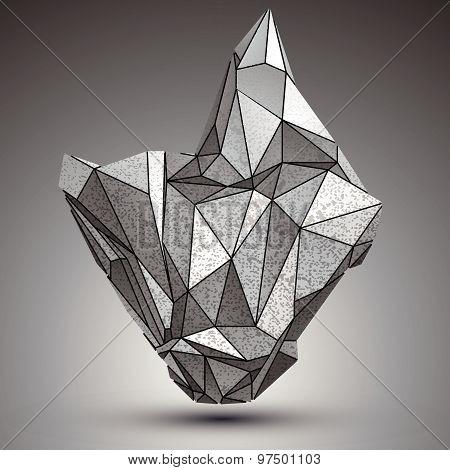 Deformed apex tech zinc object, 3d complex cybernetic element. poster