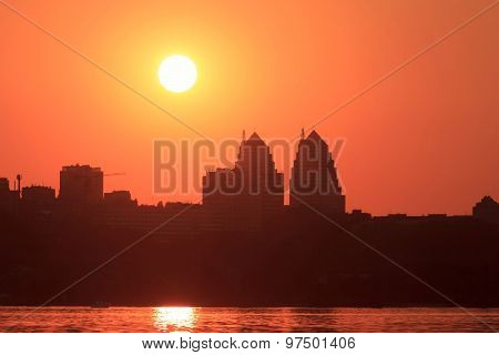 Urban Sunset In Dnipropetrovsk