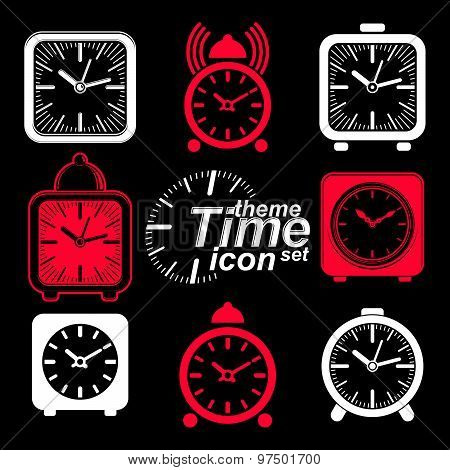 Vector squared 3d alarm clocks with clock bell, decorative wake up conceptual icons collection. Graphic design elements. poster