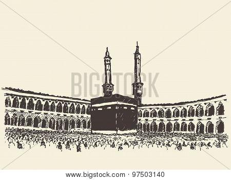 Holy Kaaba Mecca Saudi Arabia muslim sketch