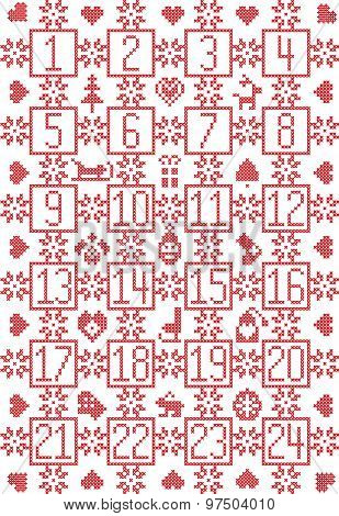 PrintScandinavian inspired by Nordic Christmas advent calendar with decorative elements such as snow