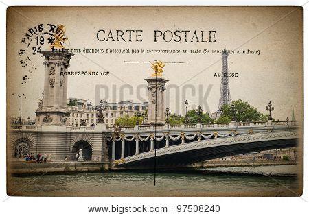 French Postcard From Paris With Landmark Bridge Pont Alexandre