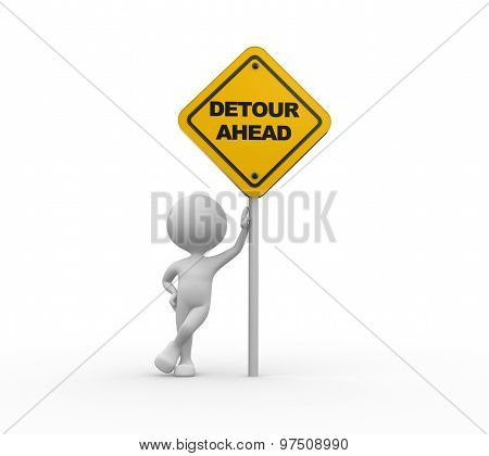 Yellow Roadsign Of Detour Ahead