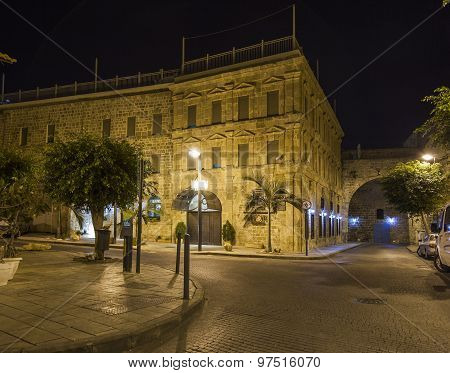 Streets Of Ancient City Of Akko At Night.  Israel
