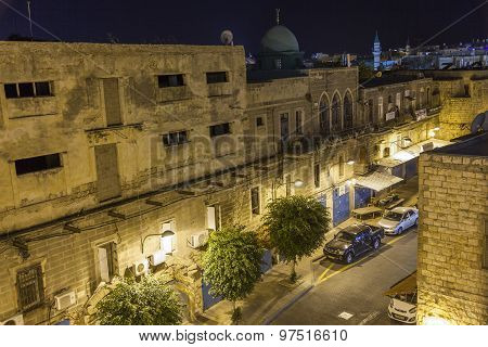 Streets Of Ancient City Of Akko At Night.