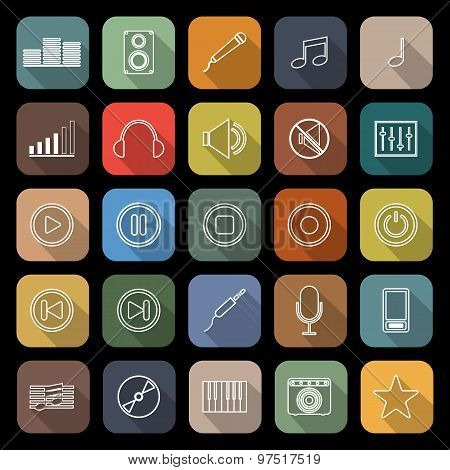 Music Line Flat Icons With Long Shadow