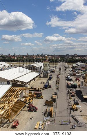 Buildup Of The Oktoberfest Tents At Theresienwiese In Munich, 2015