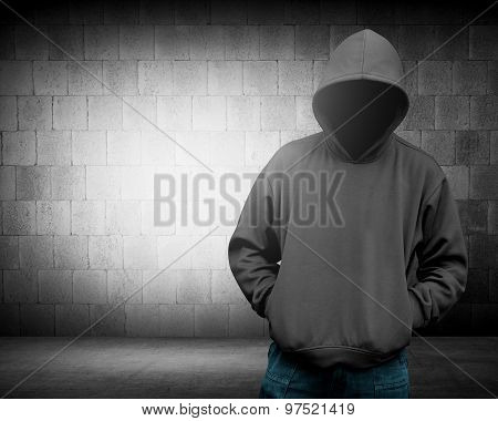 Computer hacker silhouette of hooded man. Threat of your security poster