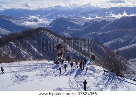 Beautiful mountain peaks in the snow. Adygea