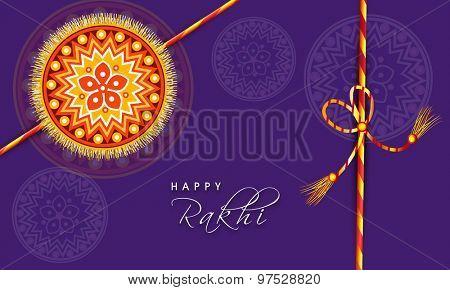 Beautiful floral design decorated rakhi on purple background, Elegant greeting card for Indian festival, Happy Raksha Bandhan celebration.
