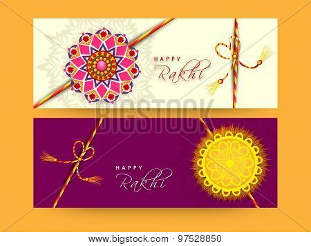Beautiful floral rakhi decorated website header or banner set for Indian festival of brother and sister love, Happy Raksha Bandhan celebration.