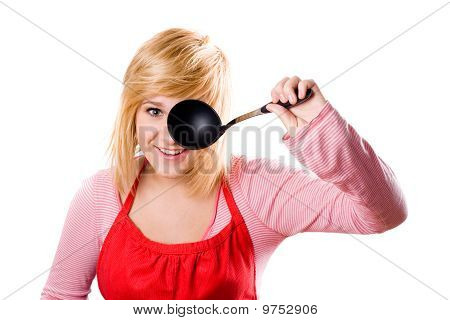 Young Housewife With Soup Ladle