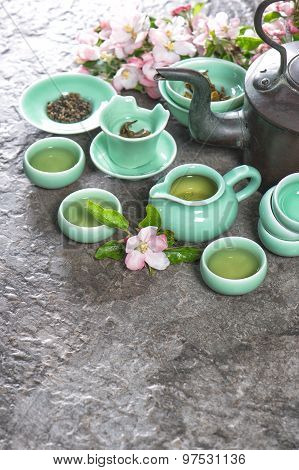 Teapot And Cups On Stone Table. Asia Style Stil Life
