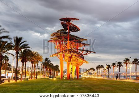 The View On Metal Structure Landmark In Sunset, Costa Dorada, Spain