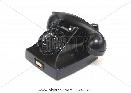 Black Antique Telephone Side View