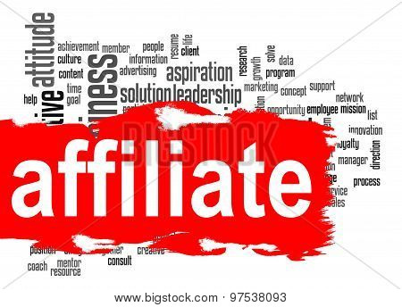 Affiliate Word Cloud With Red Banner