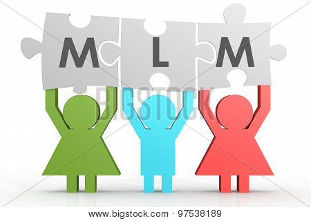 MLM - Multi Level Marketing puzzle in a line image with hi-res rendered artwork that could be used for any graphic design. poster