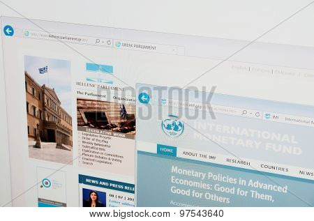 Hellenic Parliament and IMF home pages