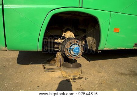 Bus without wheels on the stand