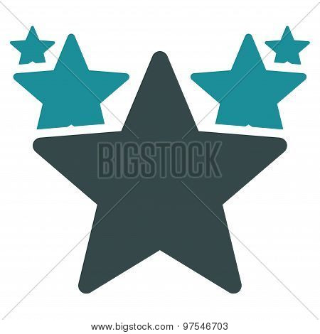 Hit parade icon. Vector style is flat bicolor symbols, soft blue colors, rounded angles, white background. poster