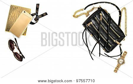 Fashion Background With Business Lady Accessories. Feminine Objects