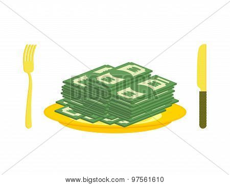 Food Oligarch. Bundles Of Money, Cash Eats For Breakfast. Gold Cutlery: Knife And Fork, For  Rich.