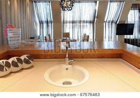Kitchen Interior with Sink Close Up