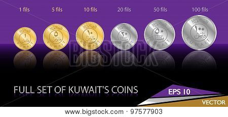 Kuwait Coins Vector Illustrated Icons Decorative Background