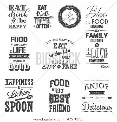 Set of vintage food typographic quotes. Grunge effect can be edited or removed..