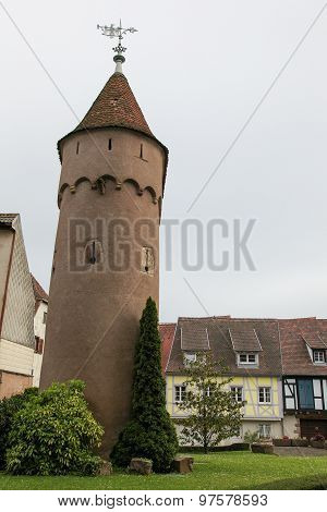 Medieval Tower In Obernai, Alsace, France