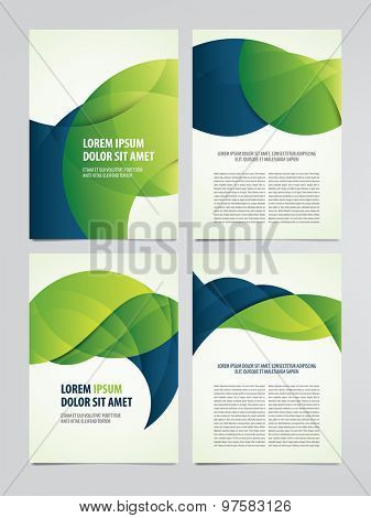 Vector business brochure, flyer templates. Set of modern green and blue corporate designs.