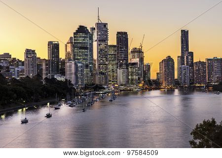 Brisbane City Riverside and Harbour Sunset