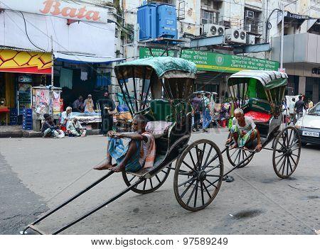 Rickshaw Driver Working In Kolkata, India