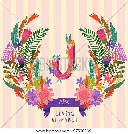 The Letter J. Floral Hand Drawn Monogram Made Of Flowers And Leafs In Vector. Spring Floral Abc Elem