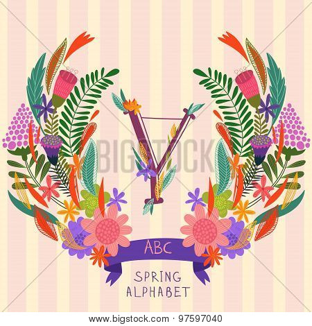 The Letter Y. Floral Hand Drawn Monogram Made Of Flowers And Leafs In Vector. Spring Floral Abc Elem