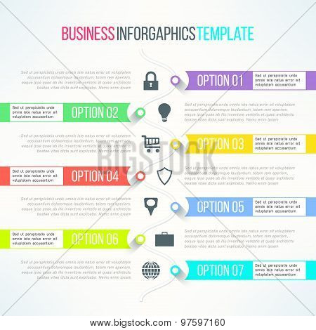 Vector bright infographic template suitable for business presentations and reports. Steps process wi