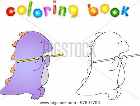 Crummy Bellied Dragon Doing Exercises With Gymnastic Stick. Coloring Book About Healthy Lifestyle Fo